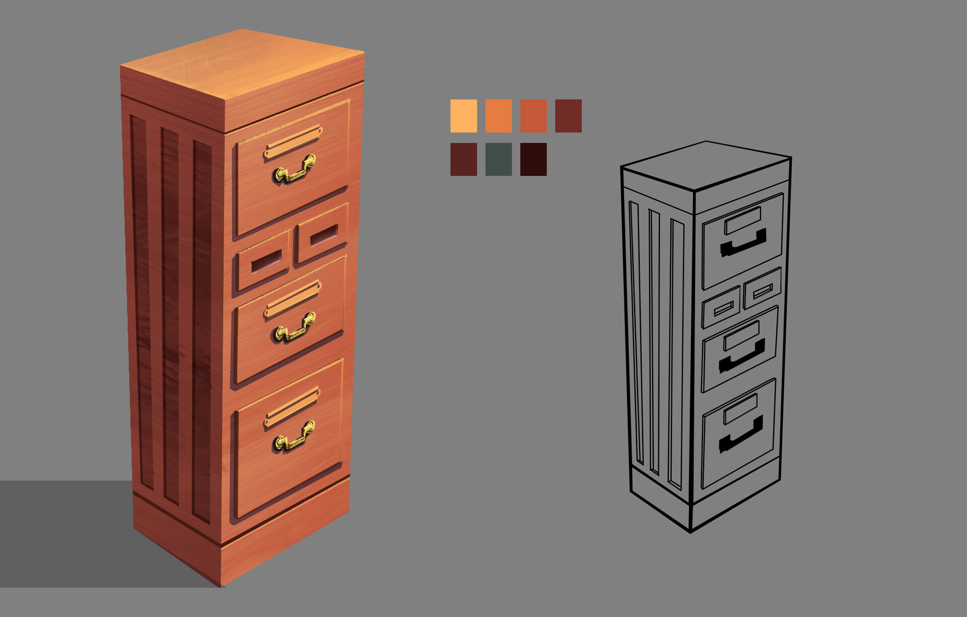 A Prop Design of file cabinet from the Edwardian Era.