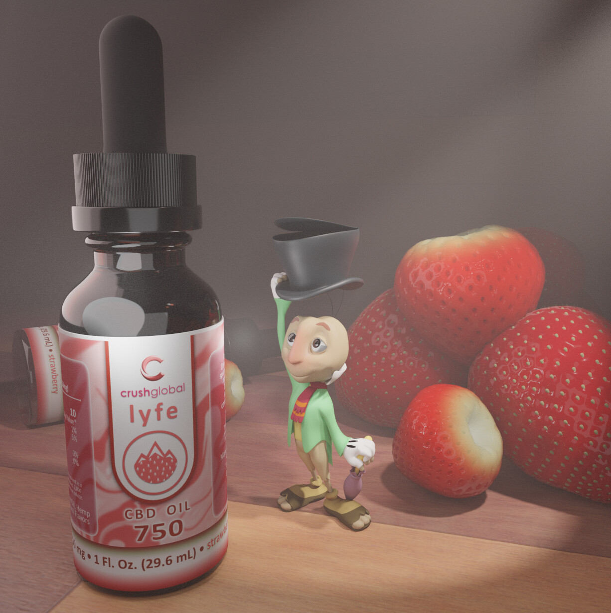 3D Render in Blender 2.79, edited in Affinity Designer. Berries All procedural. Label made in Affinity Designer