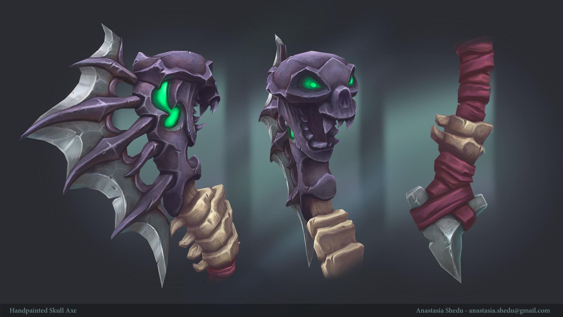 Anastasia shedu handpainted skull axe details