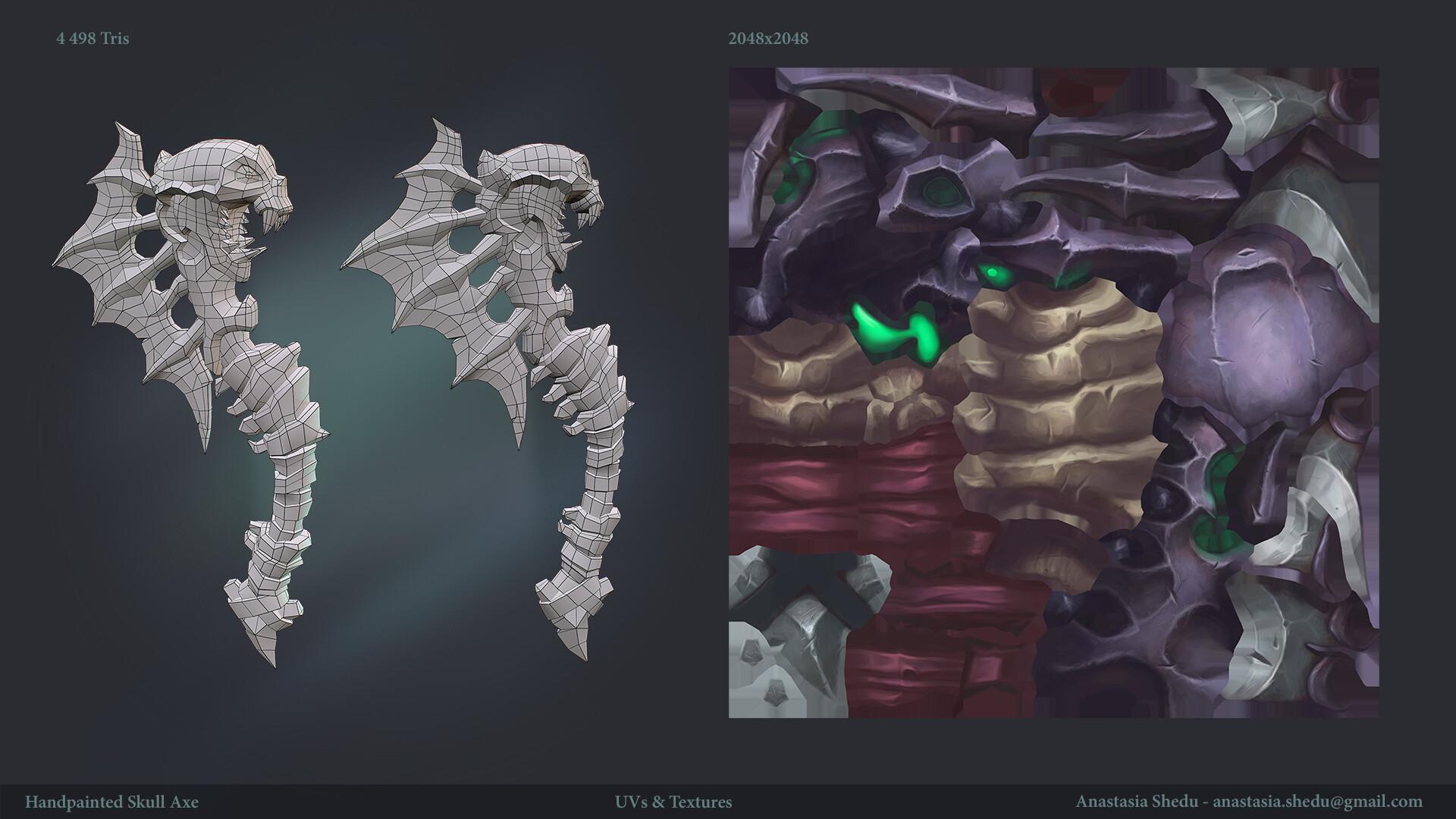 Anastasia shedu handpainted skull axe uvs textures
