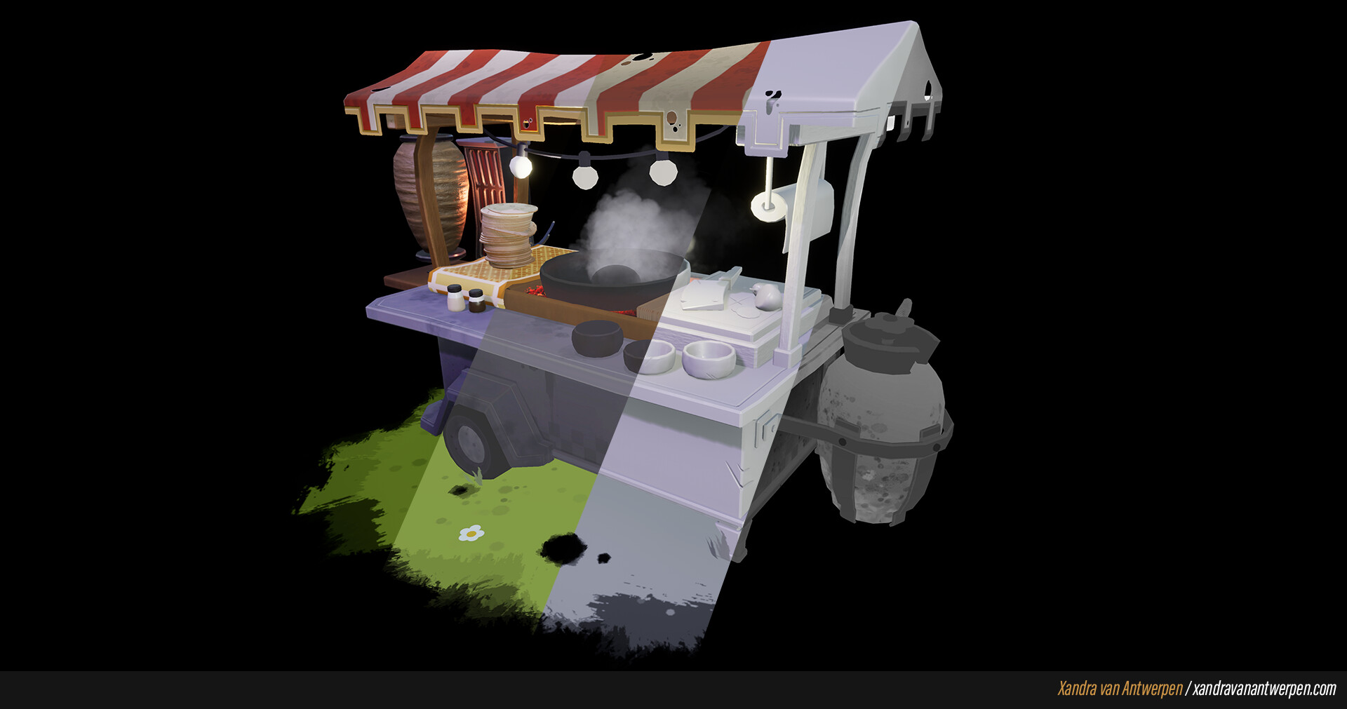 Render - Base colors - Lighting - Roughness.