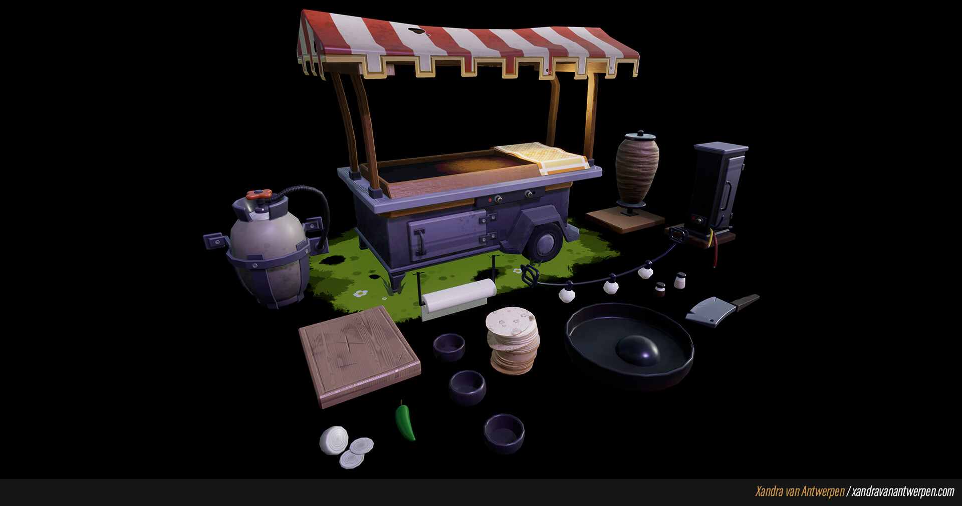 The props that I created and textured for this project.