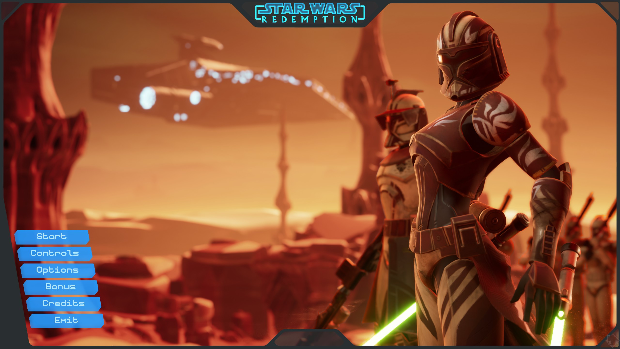 Main Menu using the test level building I did of Geonosis, not playable, but a cool place to start with