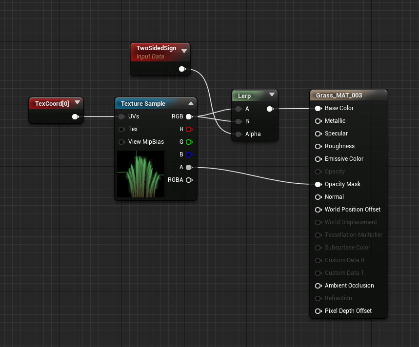 Grass shader node in unreal engine