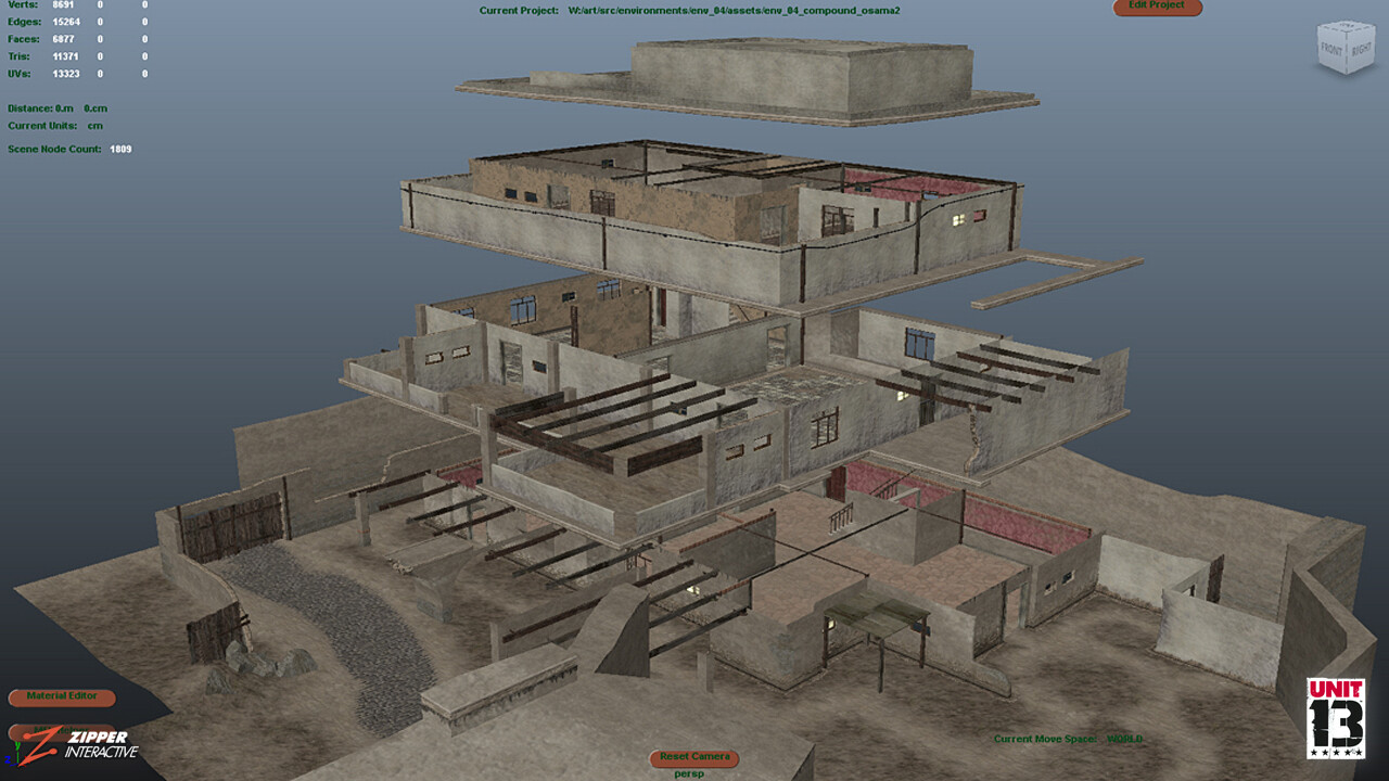 The Walled Compound, exploded Maya view.