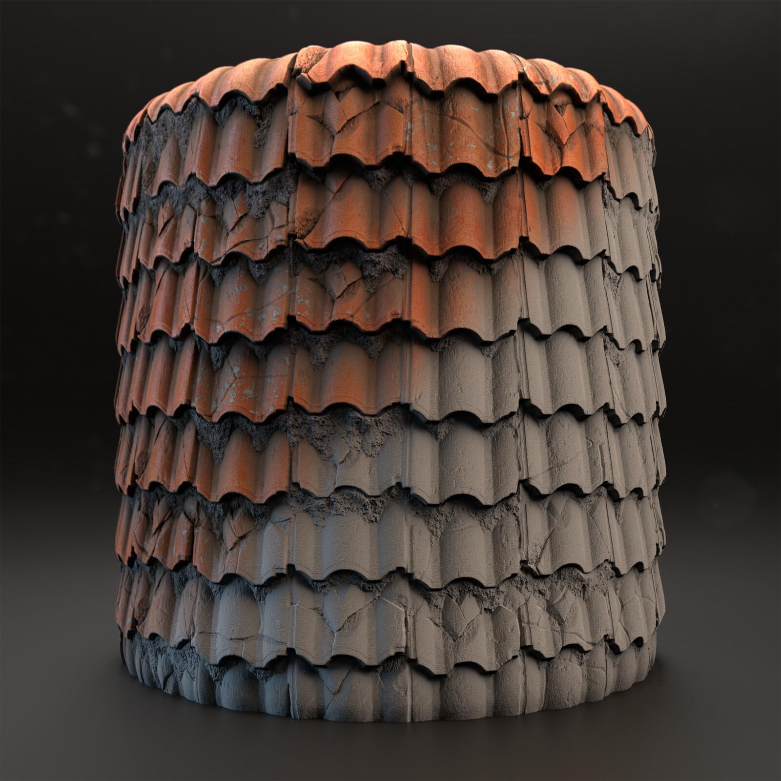 Procedural Roof Tiles Material