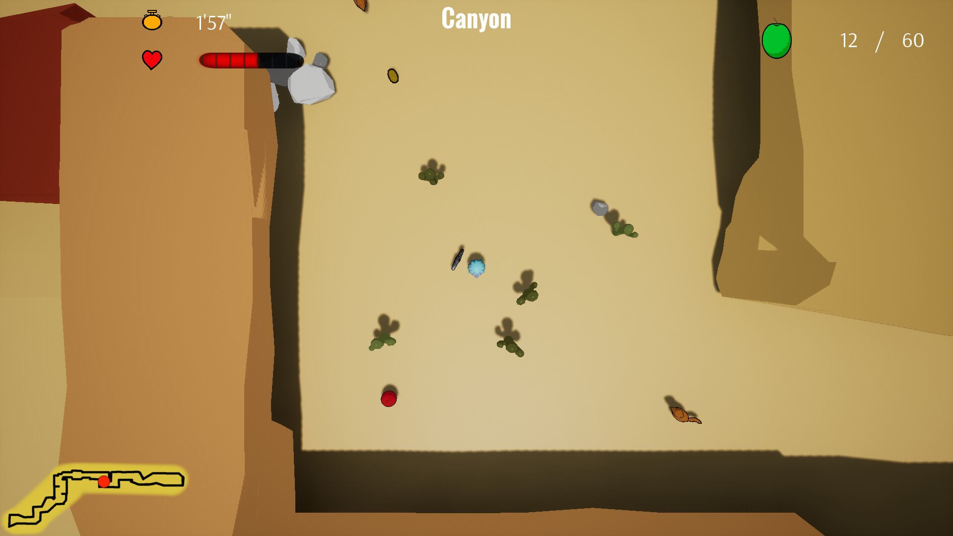 Gameplay in canyon