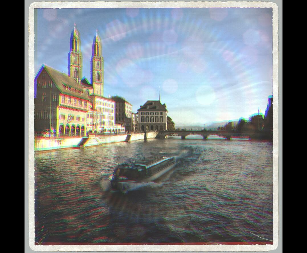 lens flares, diffraction & chromatic aberration for polaroid look