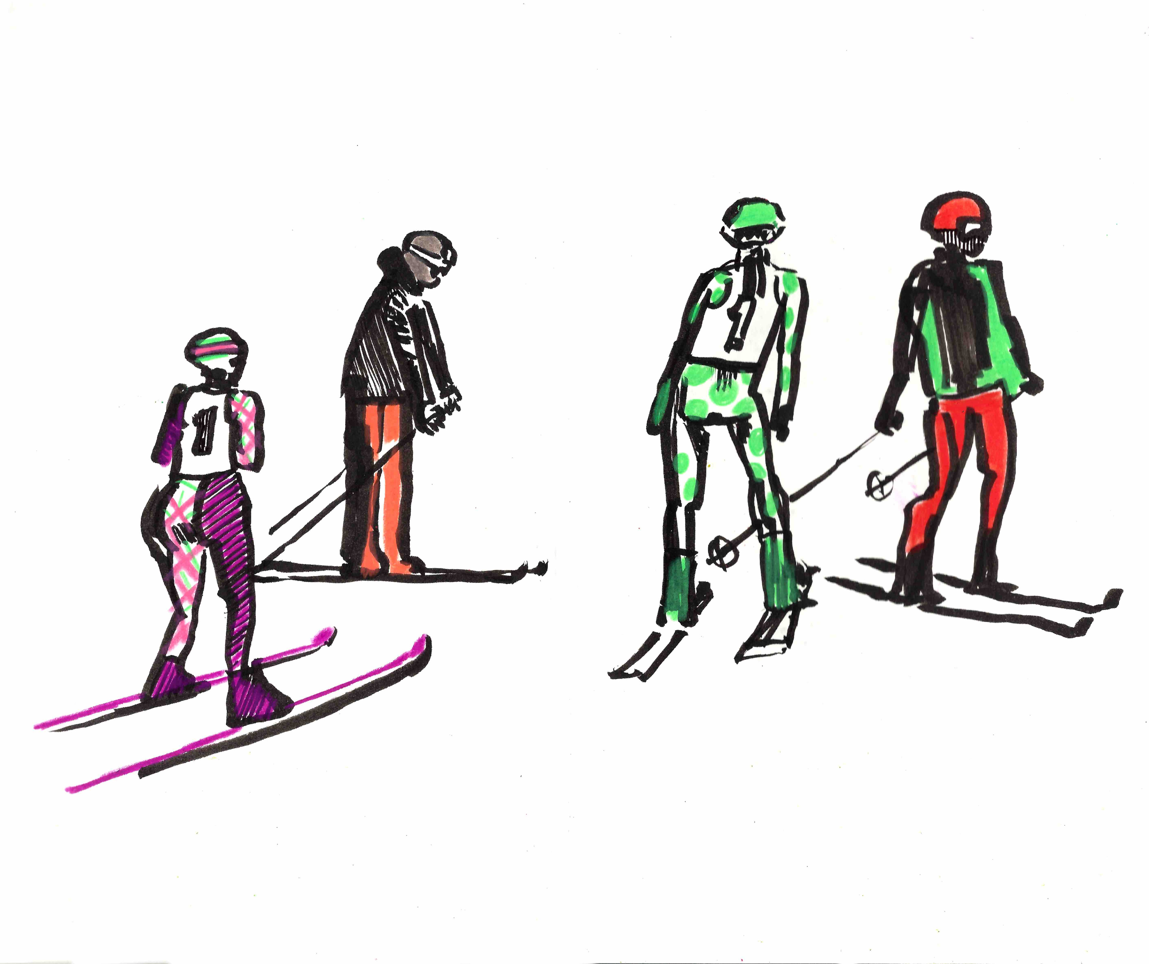 These Skiers were drawn on location. Go out and draw the world as you see it around you.