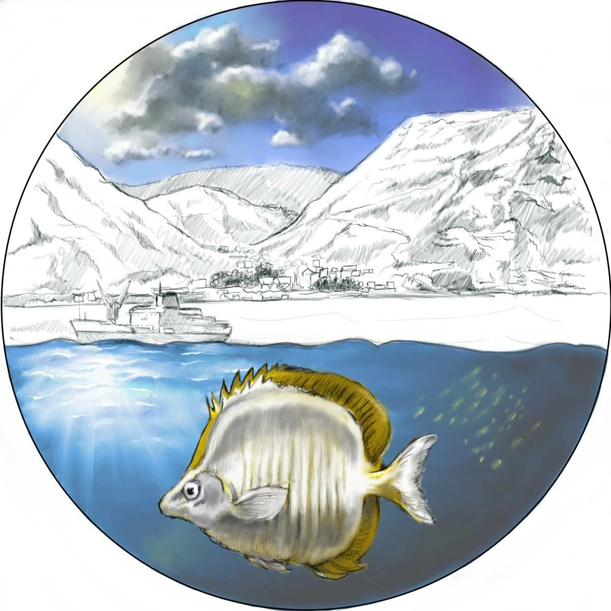 WIldlife illustration for printed coin