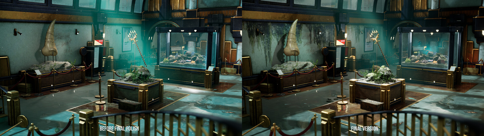 When I finished this environment for my class, the left image was the finished result. After the class ended I knew I wanted to push it a tad further, with additional polishing of the lighting and setdressing (with addition of moldy/leaky decals)