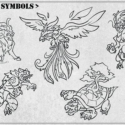 Vinfang onkyu ho flash tattoo sheets 5 symbols