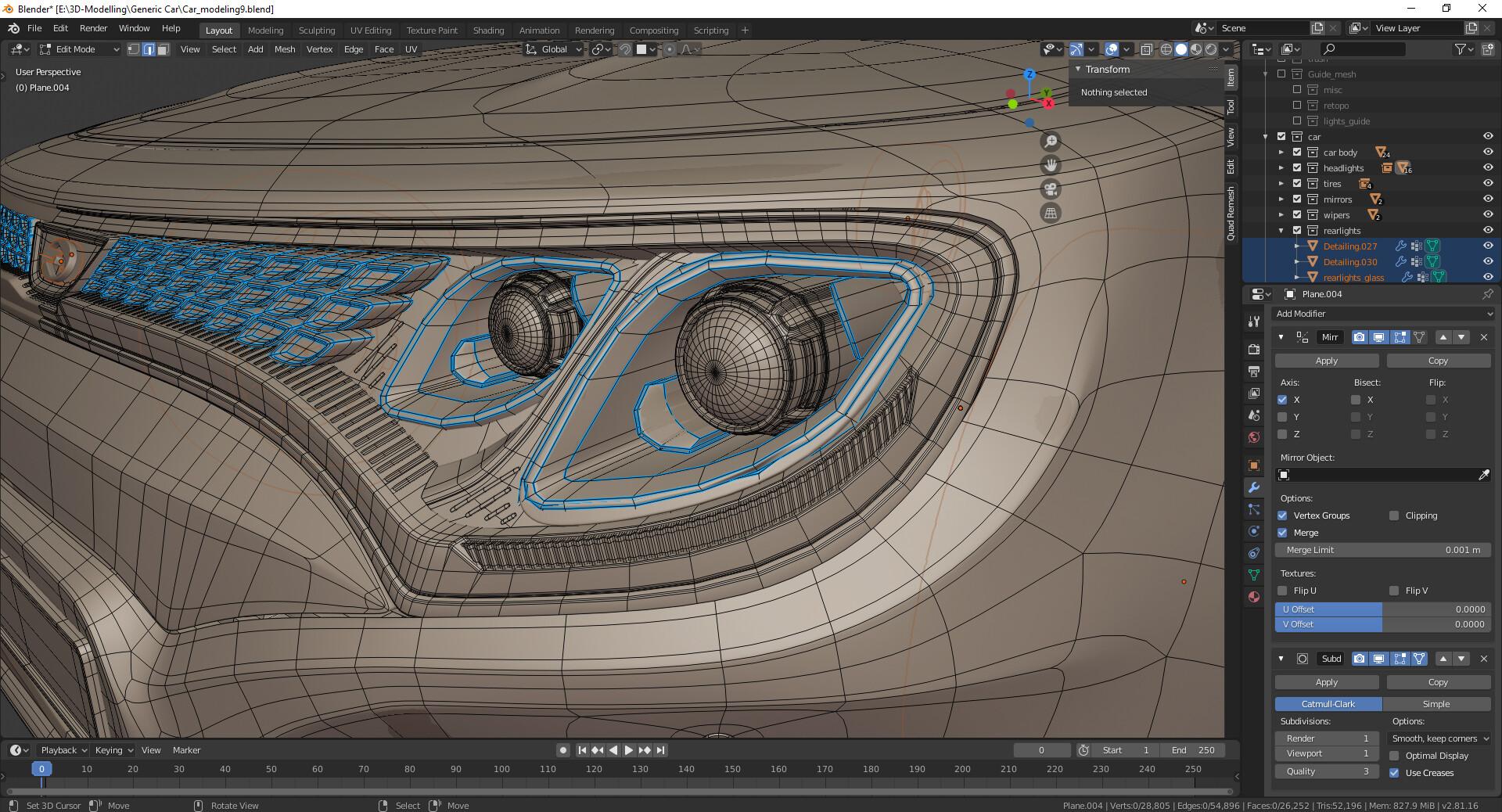 WIP 6: Headlights modeling