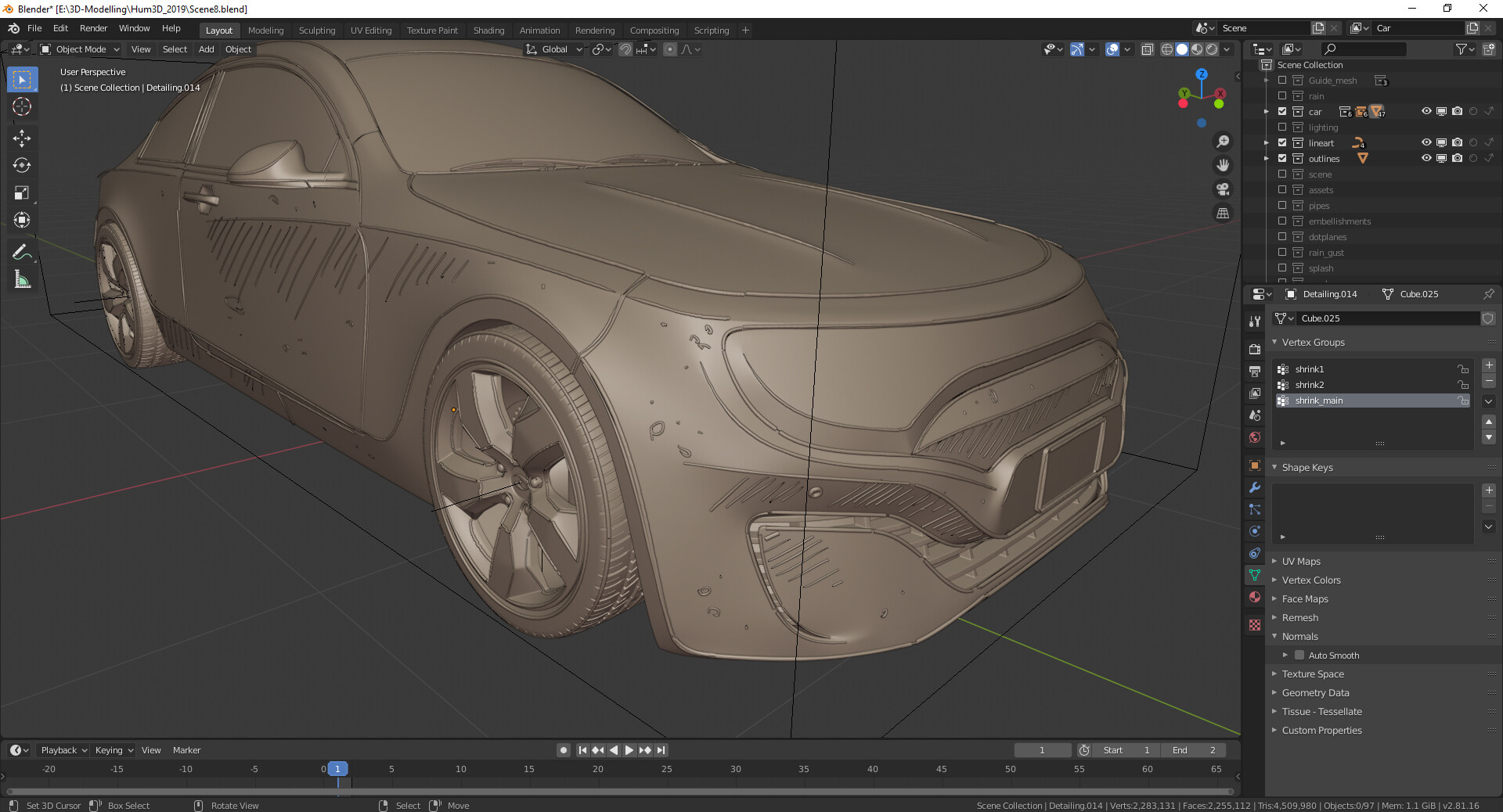 WIP 11: Car with grease pencil strokes converted to curves