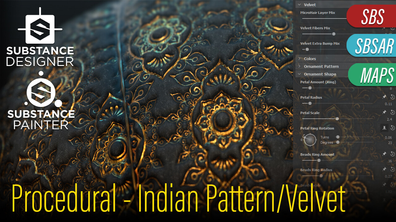 This Material/Project is now on my Marketplace ! https://www.artstation.com/kumodot/store/VVgP/procedural-velvet-indian-pattern