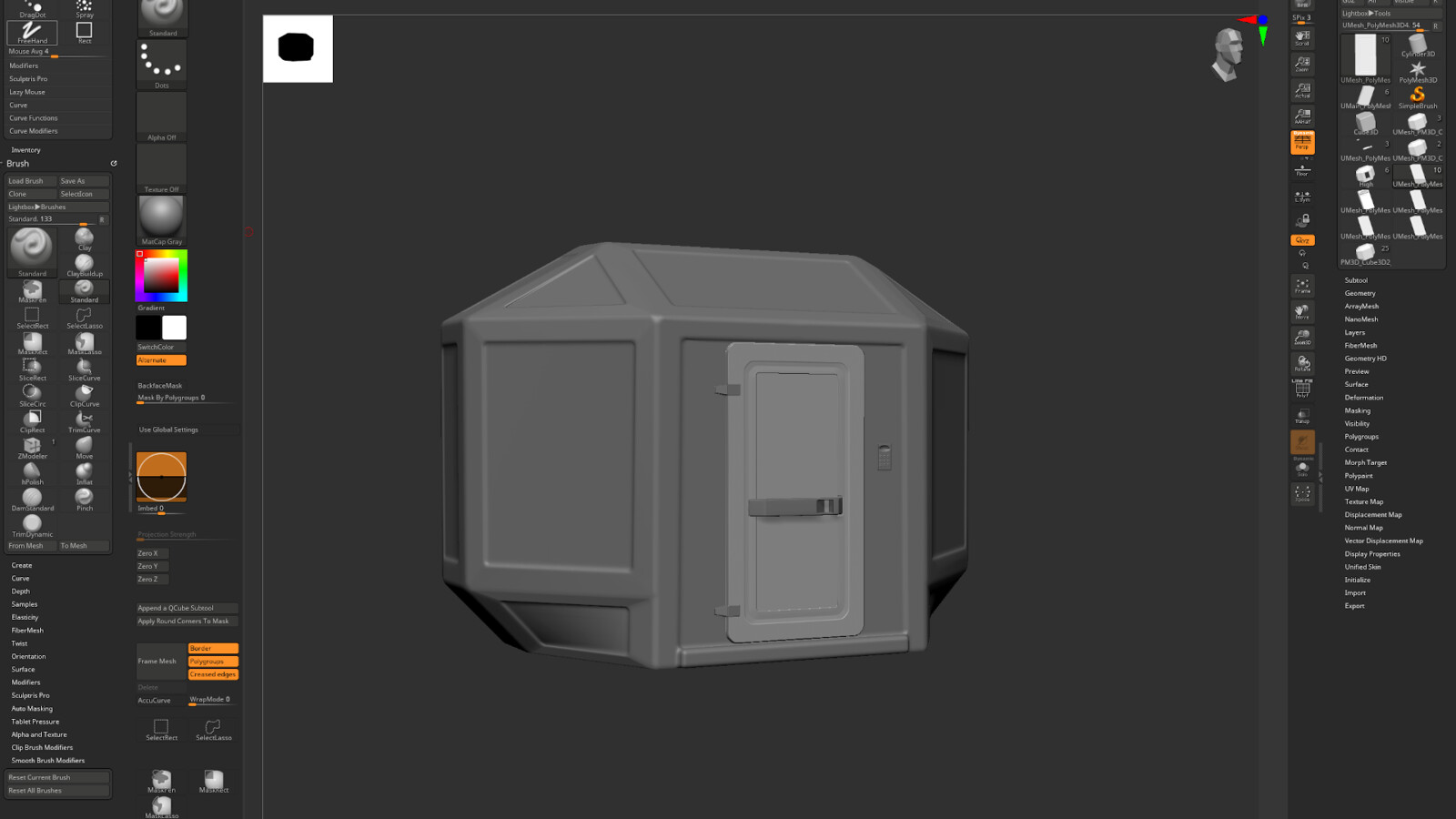 Prefab structure made with Zmodeler in Zbrush. Result came out as I wanted but modeling in Zmodeler can be slow!