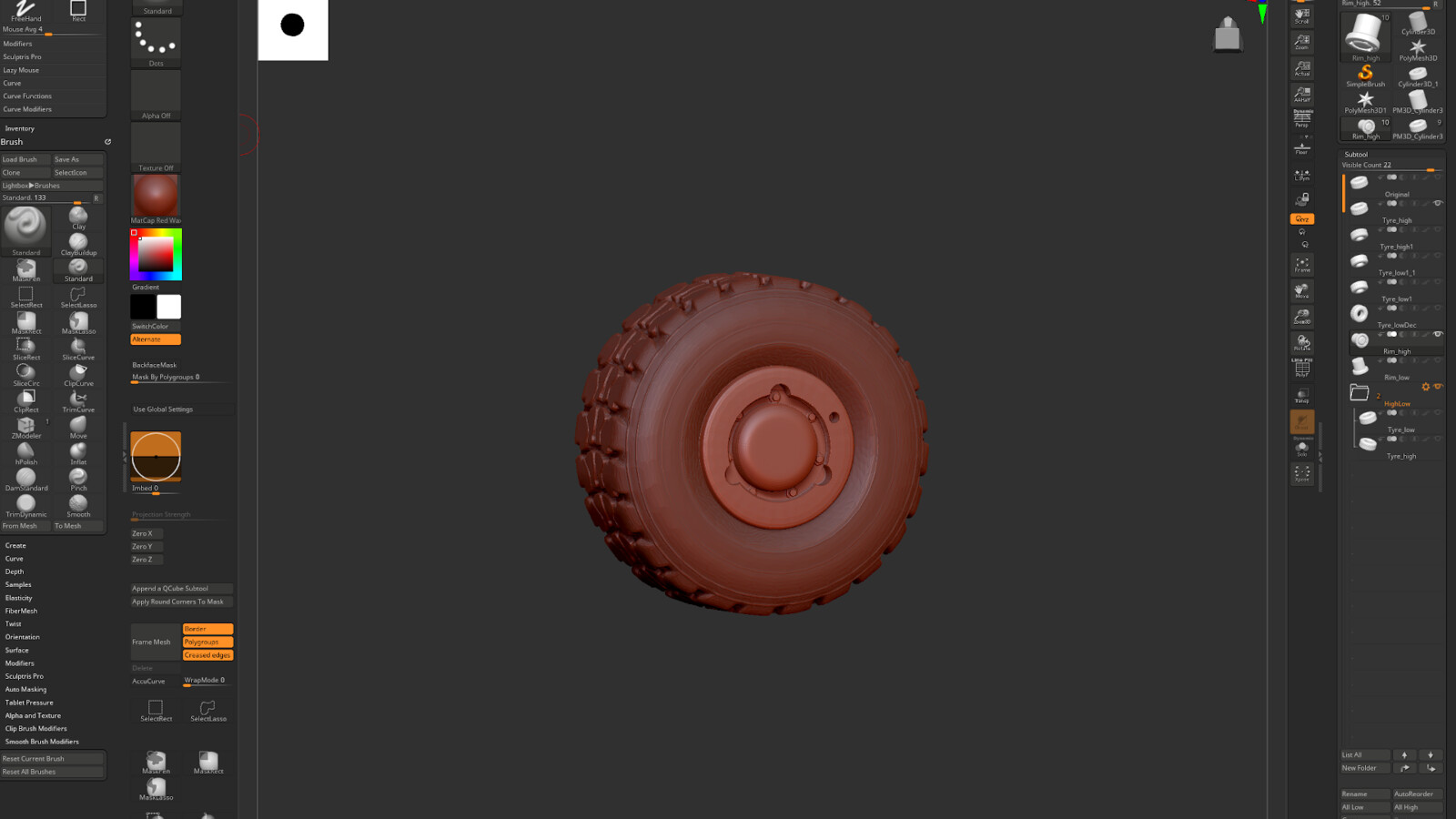 Truck wheels made in Zbrush.