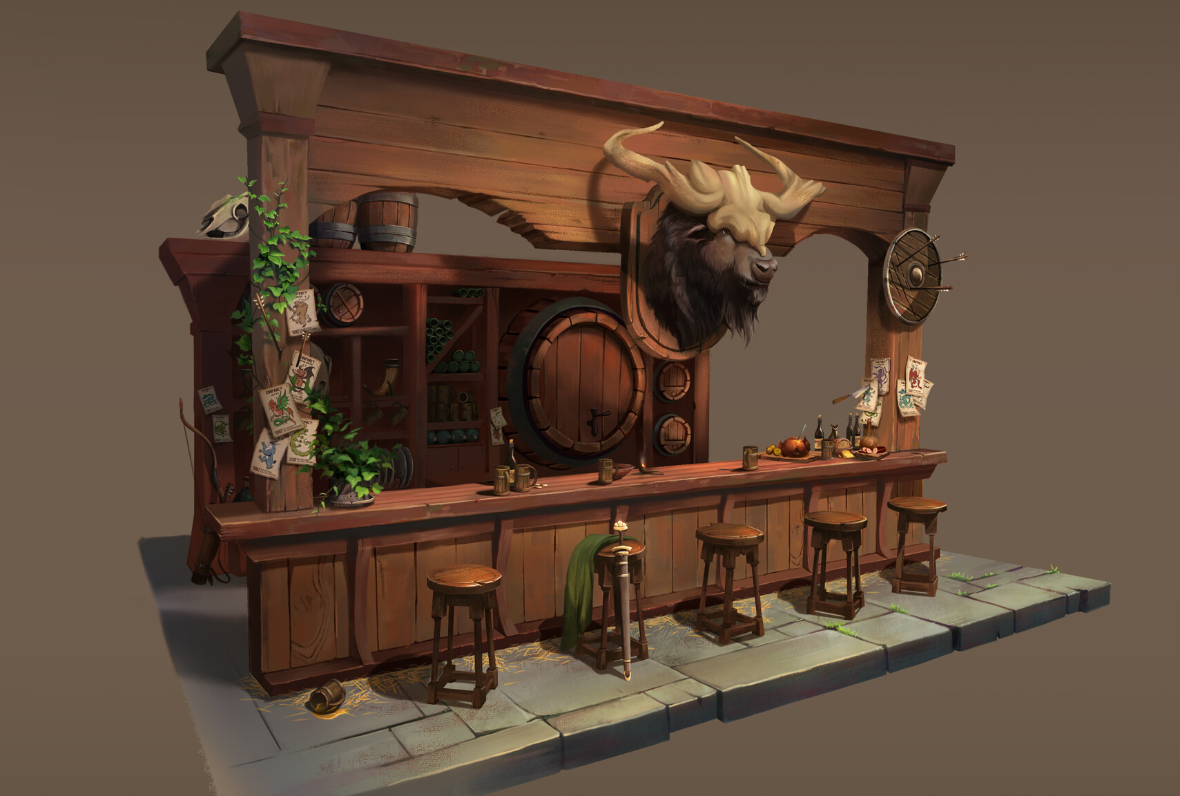 "A fantasy ""hunter"" themed tavern designed in a Dungeons & Dragons world."