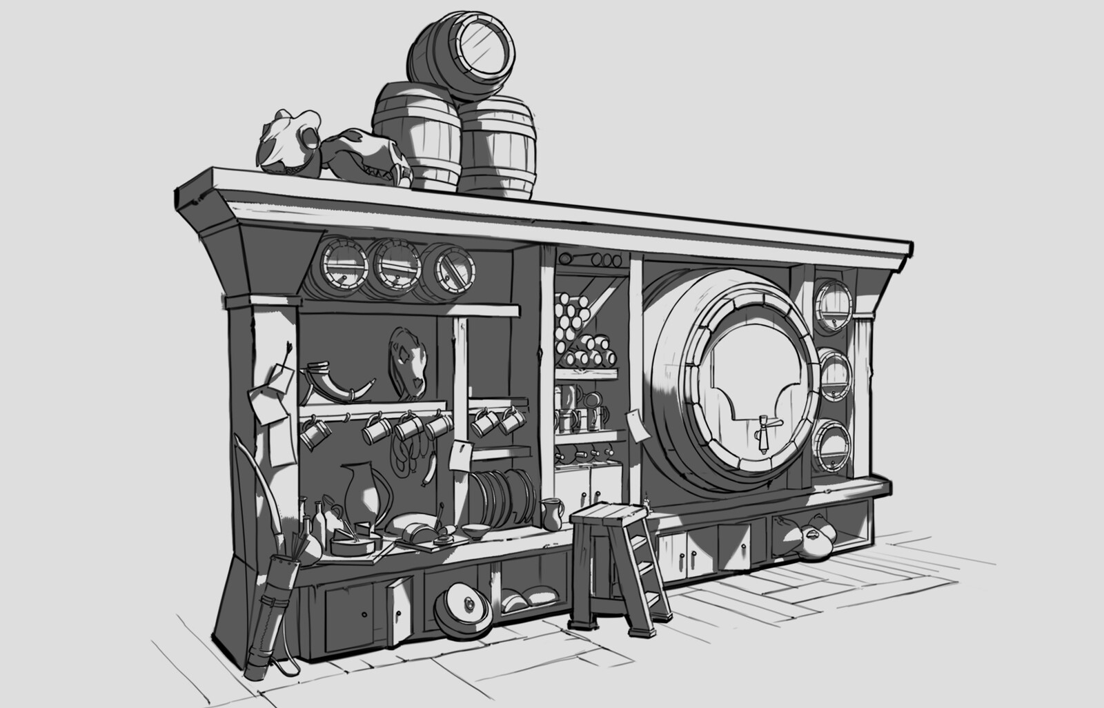 Sketch of the area behind the bar.