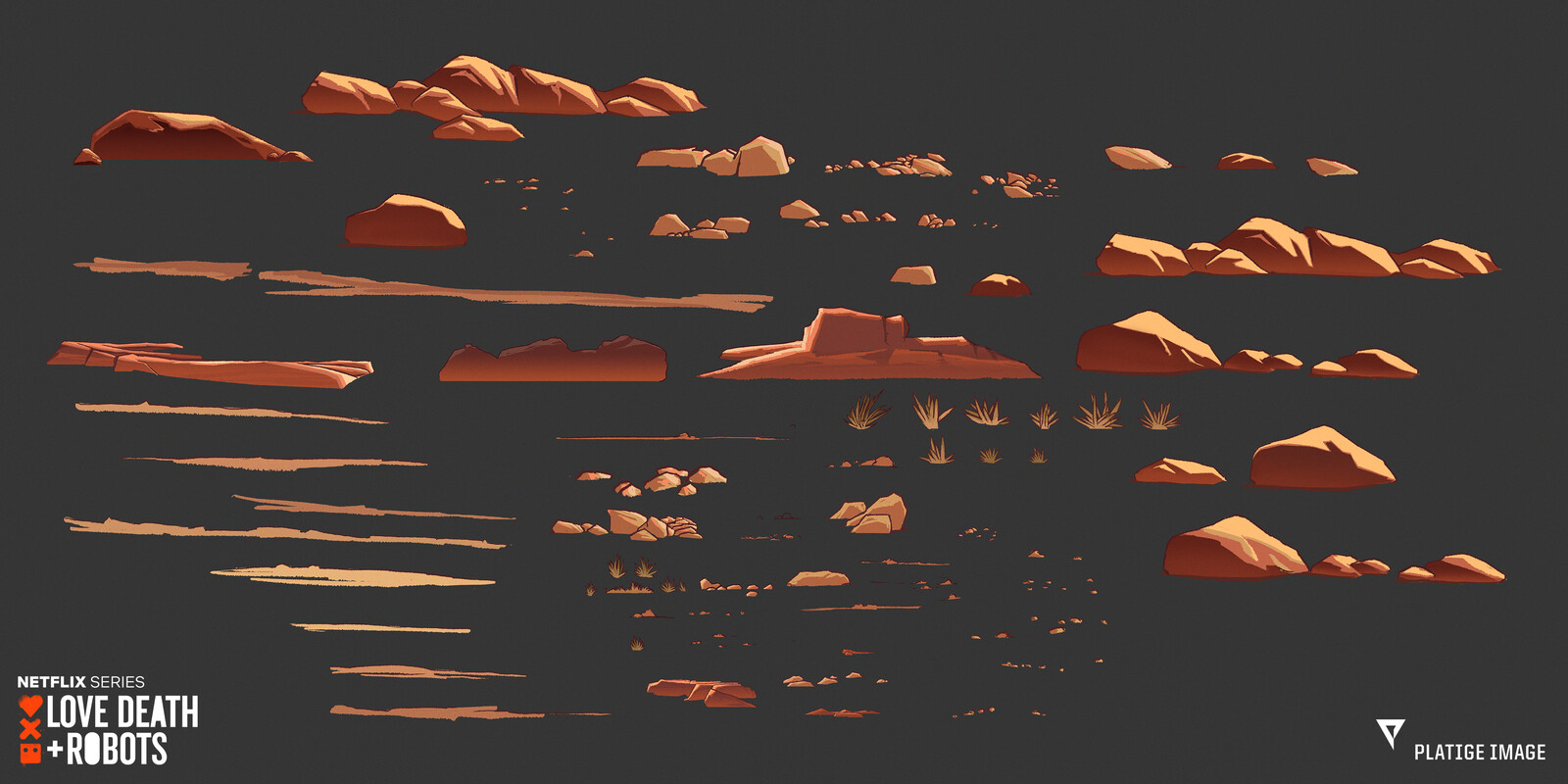 Some of the additional desert assets that were used in various shots.