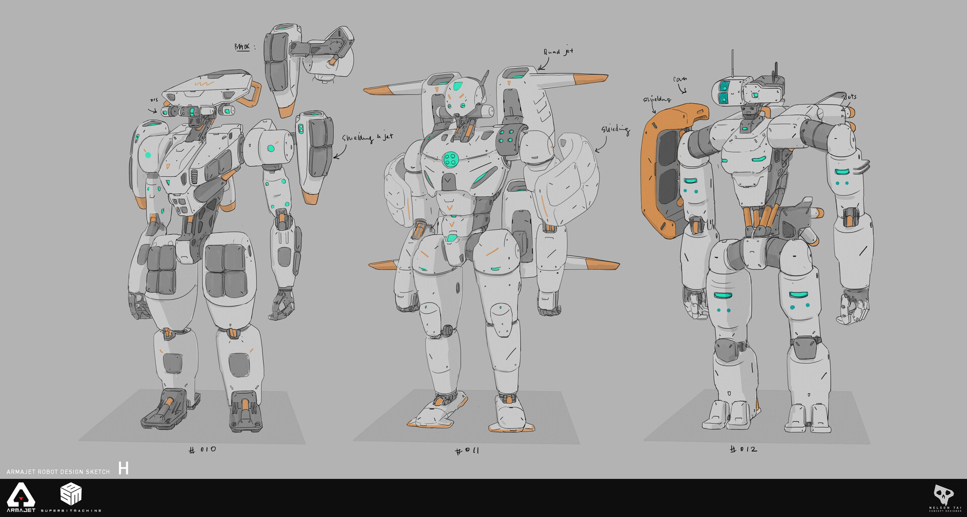 Robo sketches - Exploring different flight and shielding configurations.