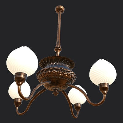 Victorian Chandelier [game ready, for VR horror game]