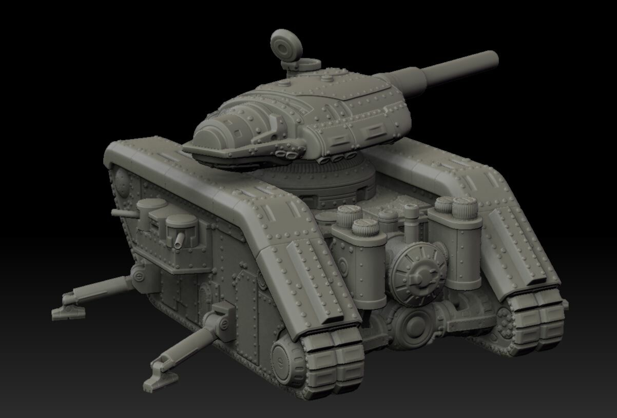 "This Mk V Land Monitor - the ""Gideon Naval Rifle Carrier"" - was created for the All Quiet on the Martian Front tabletop miniatures game, and was realized as a cast resin and white metal kit with more than 40 parts.  There were multiple weapon variants."