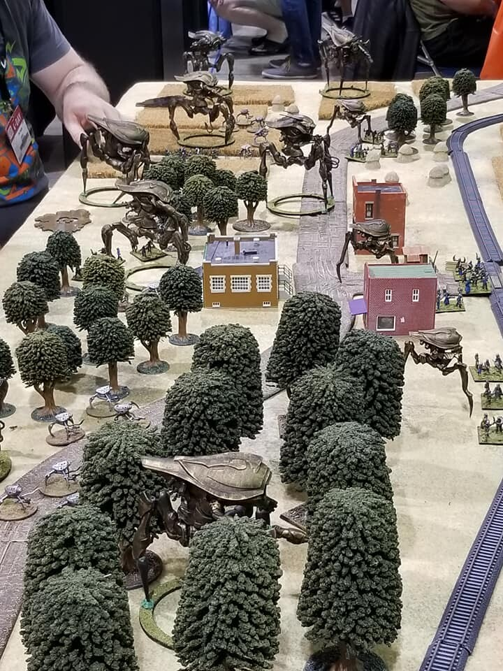 A Martian force of Tripods advances, on the All Quiet on the Martian Front table at GenCon 2019!  Scout, Grenadier, and Assault configurations are in this photo.