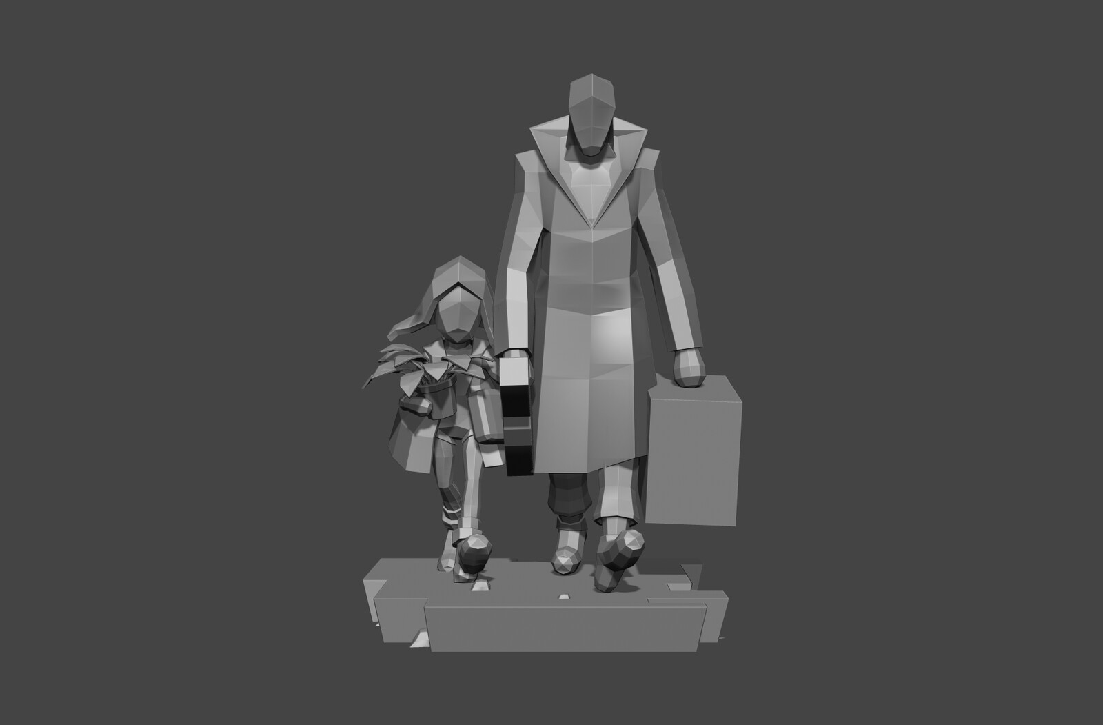 Fist blockout for the statue with almost realistic proportions