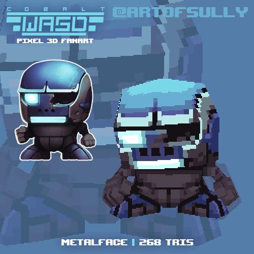 Metalface ('Cobalt WASD' lowpoly pixel fanart)