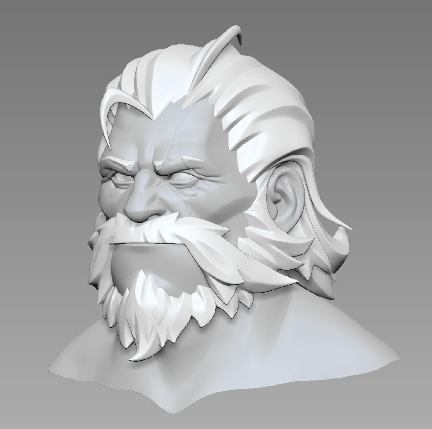 Nearly as much time went into sculpting the hair as in modeling the whole  armor