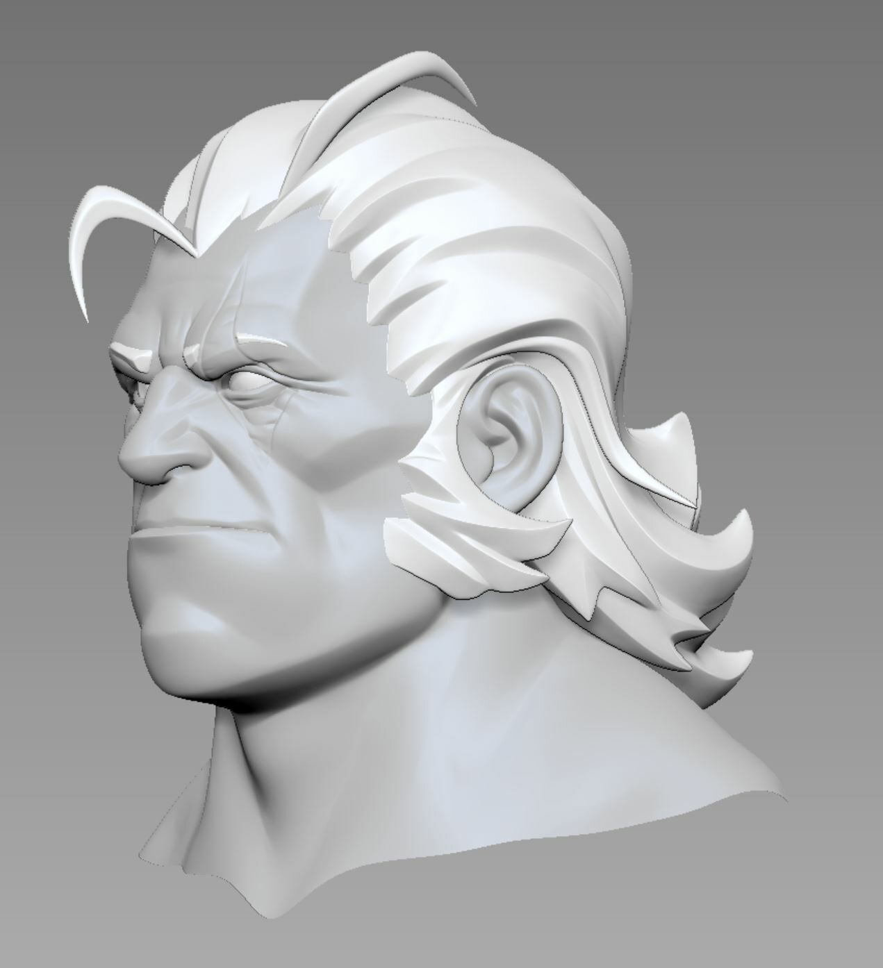 Even if the beard and mustache hide most of his face, I wanted it to look good and make sense. I used the younger Reinhardt as reference
