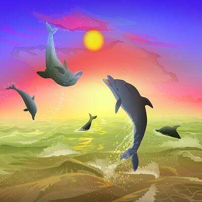 Yiska chen dolphins sunset yiskachen