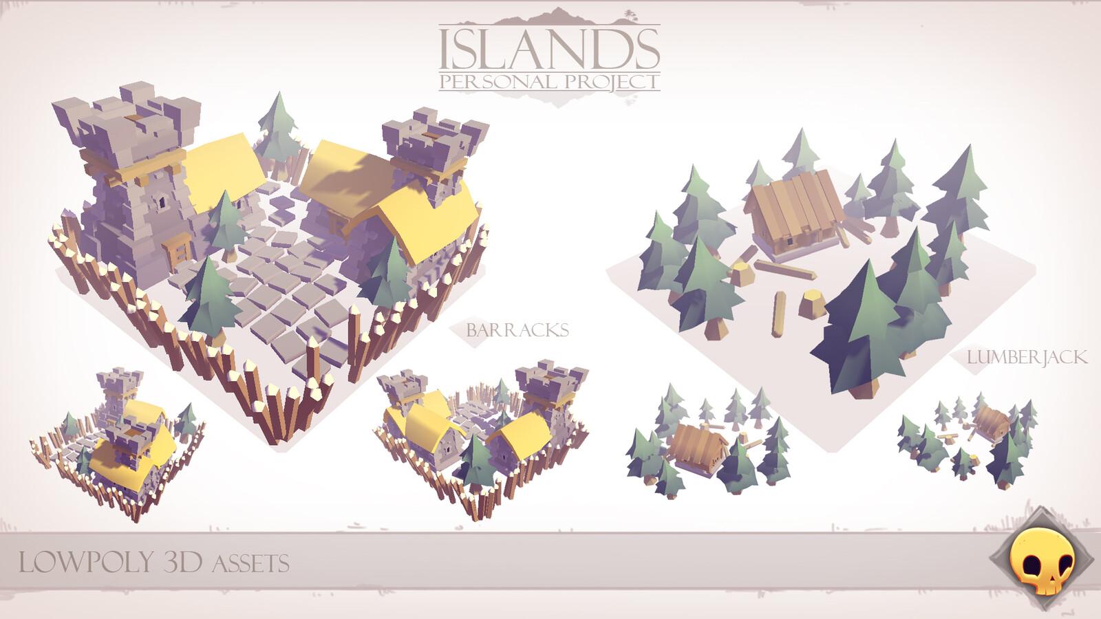 Lowpoly 3D Assets - Barracks & Lumberjack