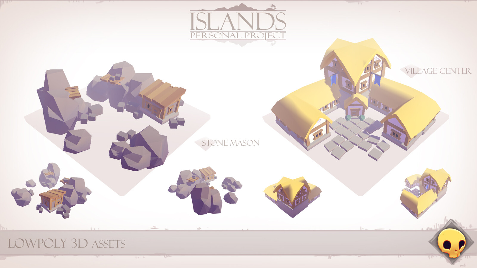 Lowpoly 3D Assets - Stonemason & Town Hall
