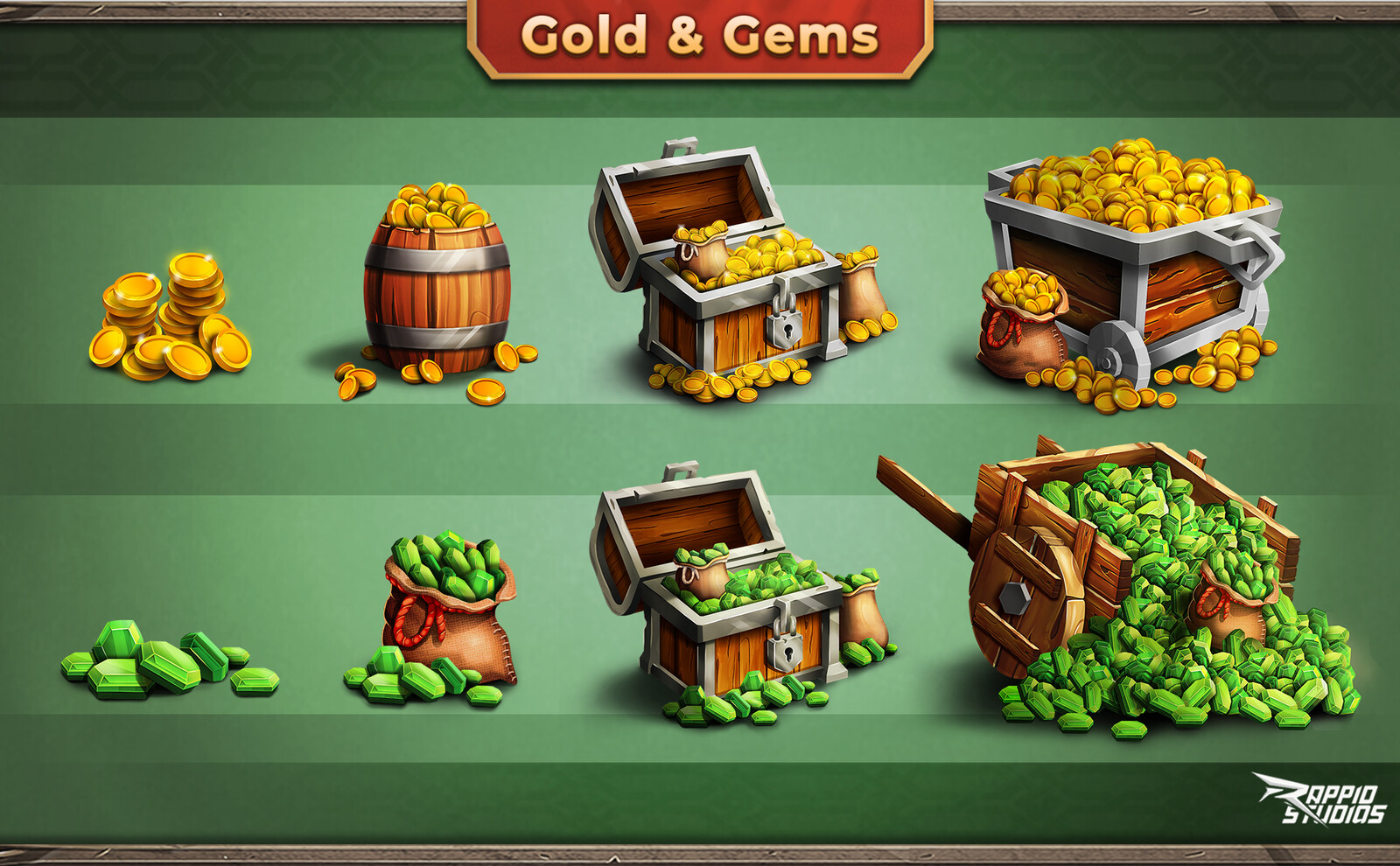 Gem packs and Gold for the shop menu