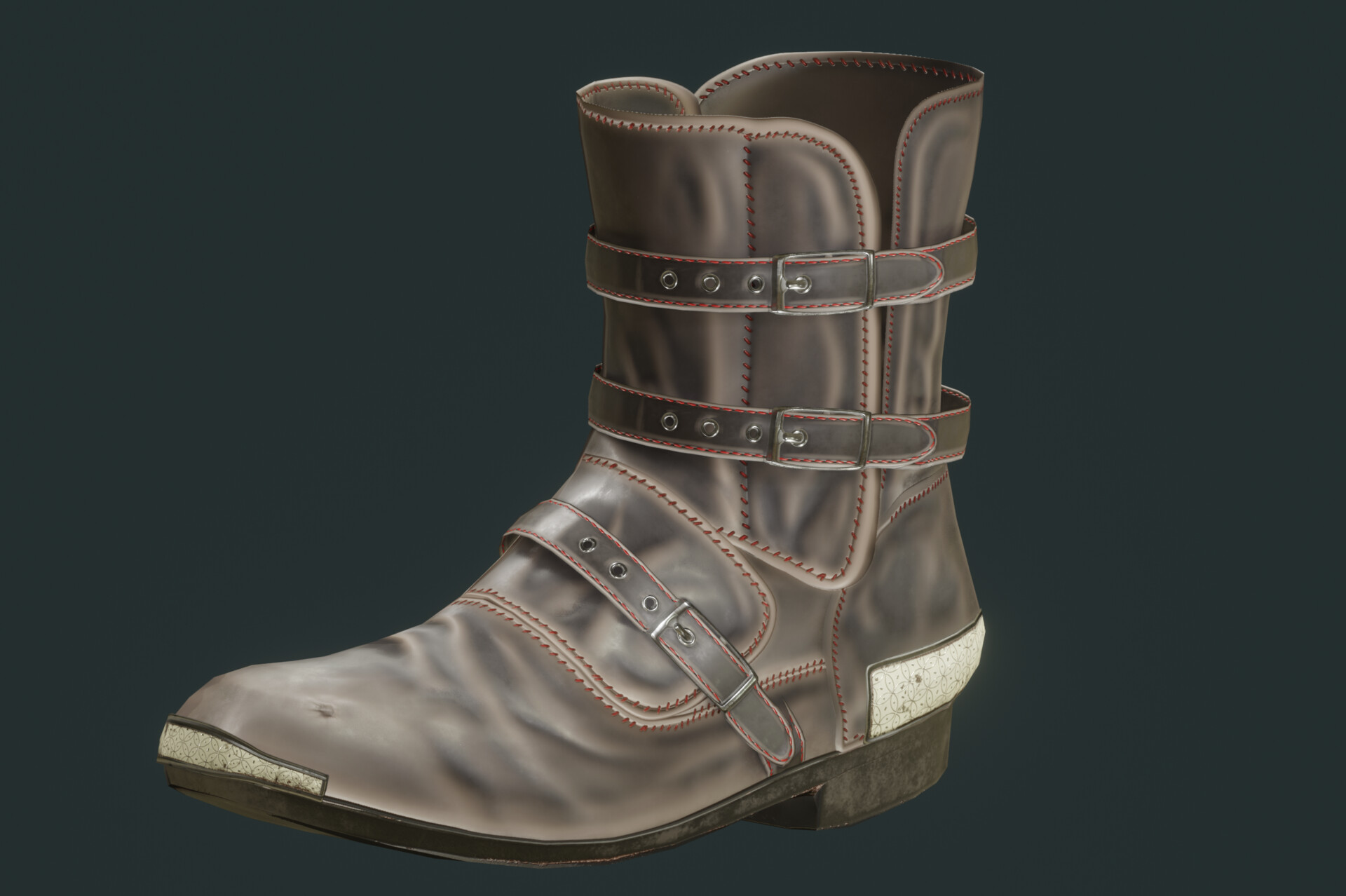 Low Poly Game Asset- Worn Leather Boots