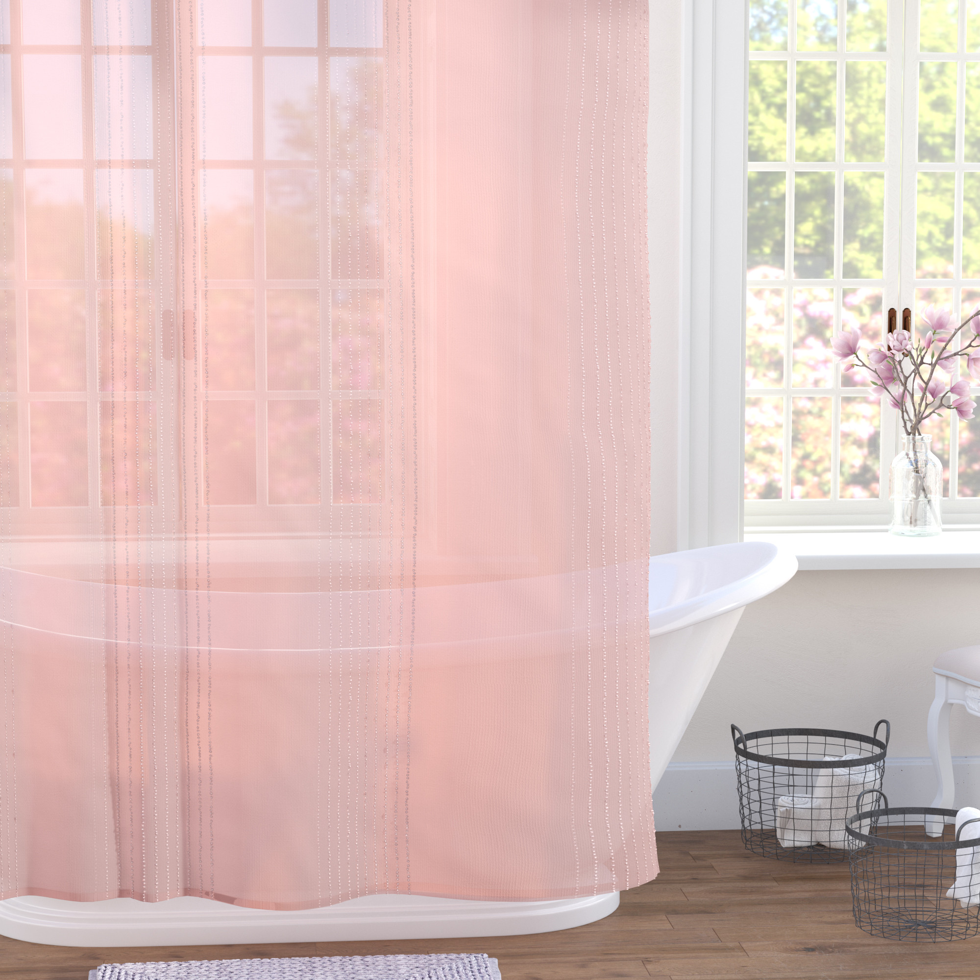 In this image I did lighting and rendering and created the material and model for the shower curtain.