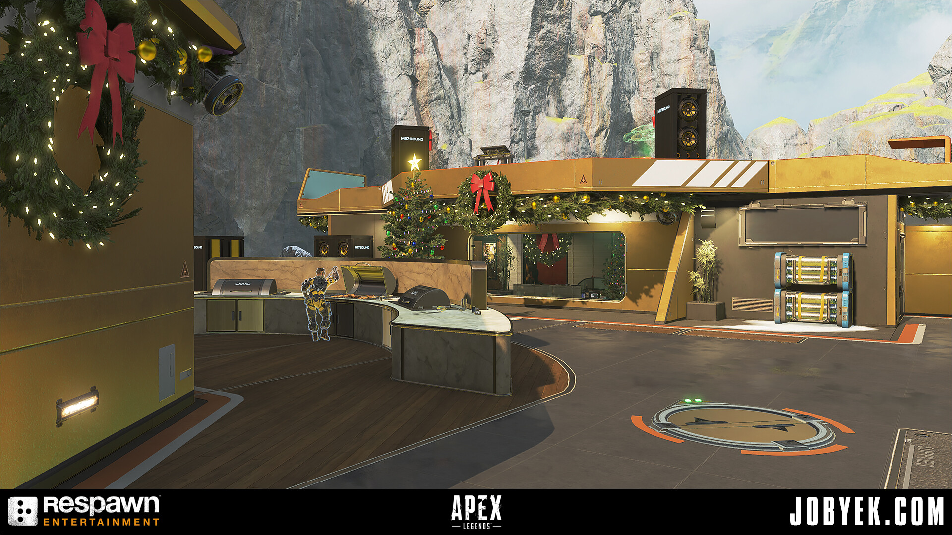 Made Loot Cap on floor (made with trim sheets/tileables from library) + Holiday Set Dressing w/Brooke Olson's asset kit