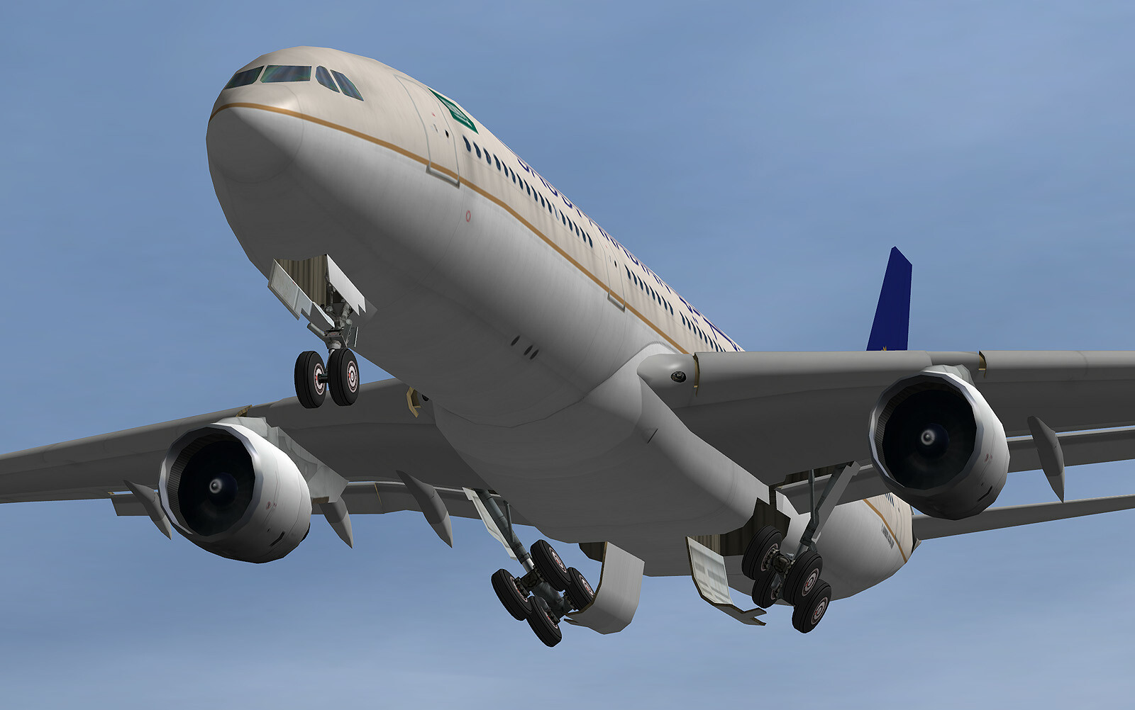 Low poly Saudi Airlines Airbus A330, full articulation in all control surfaces
