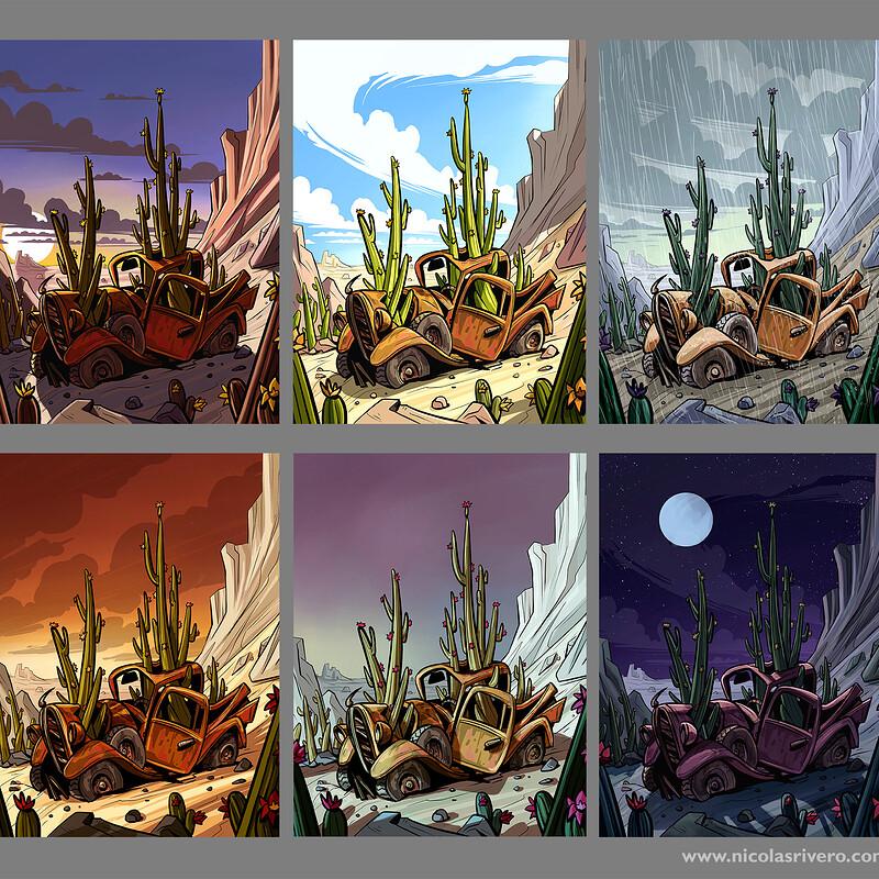 Cactus car - different daytimes