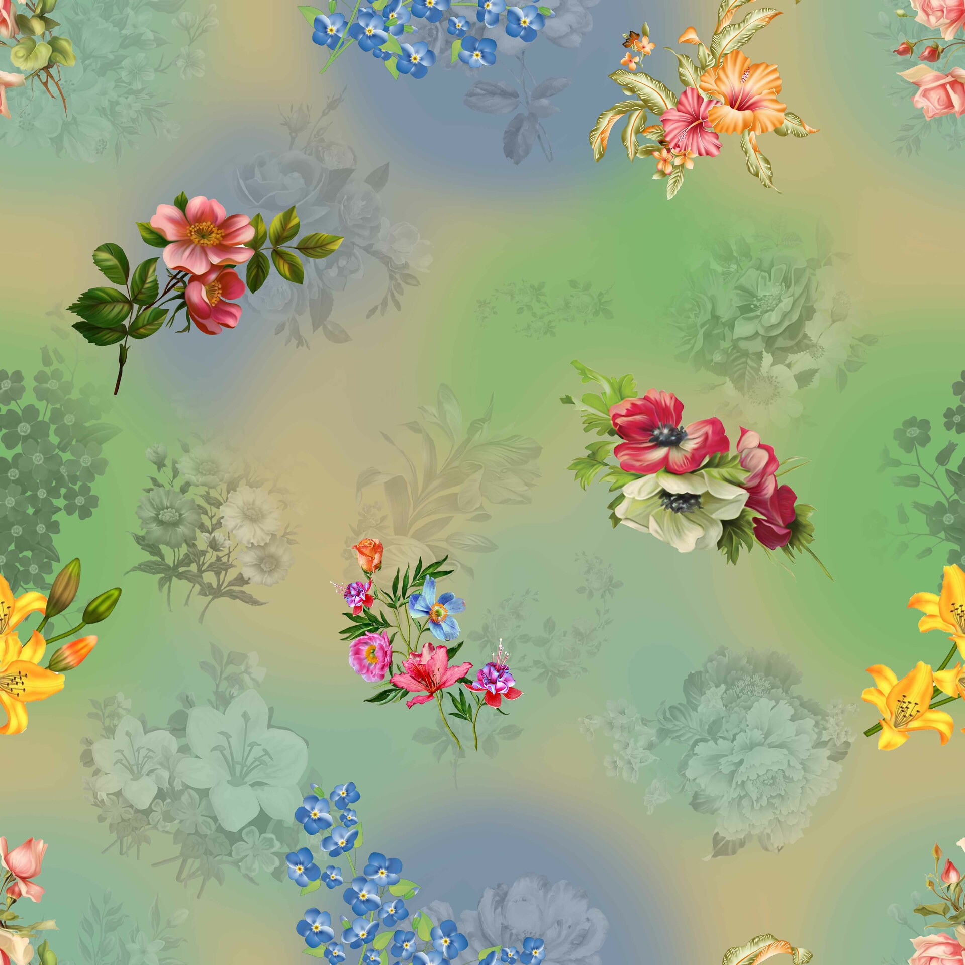 Artstation Classic Wallpaper Seamless Vintage Flower Pattern On