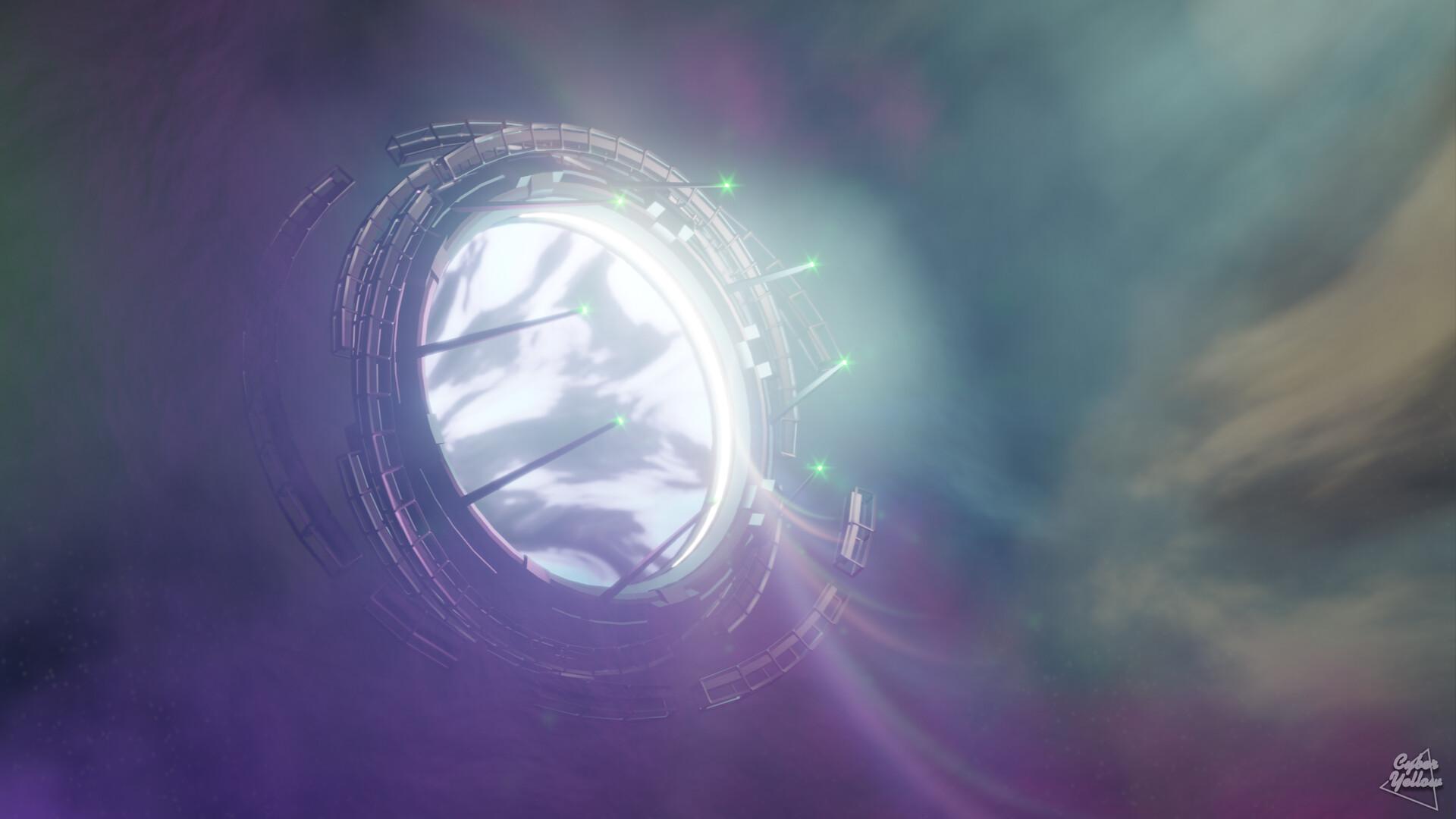 C Y B E R Y E L L O W Wormhole Space Portal Wallpaper 1440p