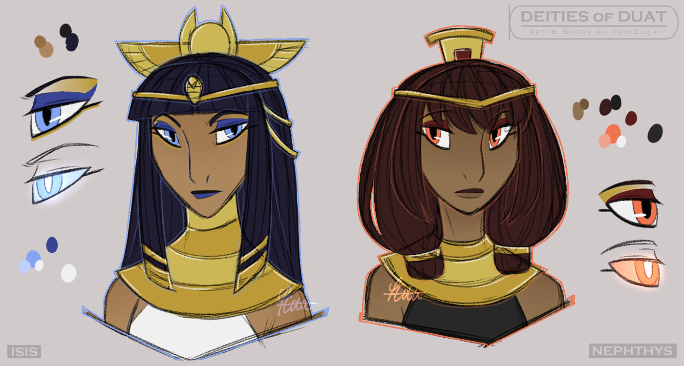 ISIS – The Goddess of Magic, health, marriage, and motherhood – the Queen of Duat. NEPHTHYS – The Goddess of Mourning, nighttime, rivers, and service.