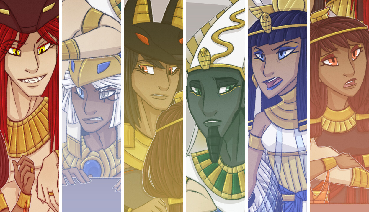 From Left to Right: Set, Horus, Anubis, Osiris, Isis, and Nephthys.