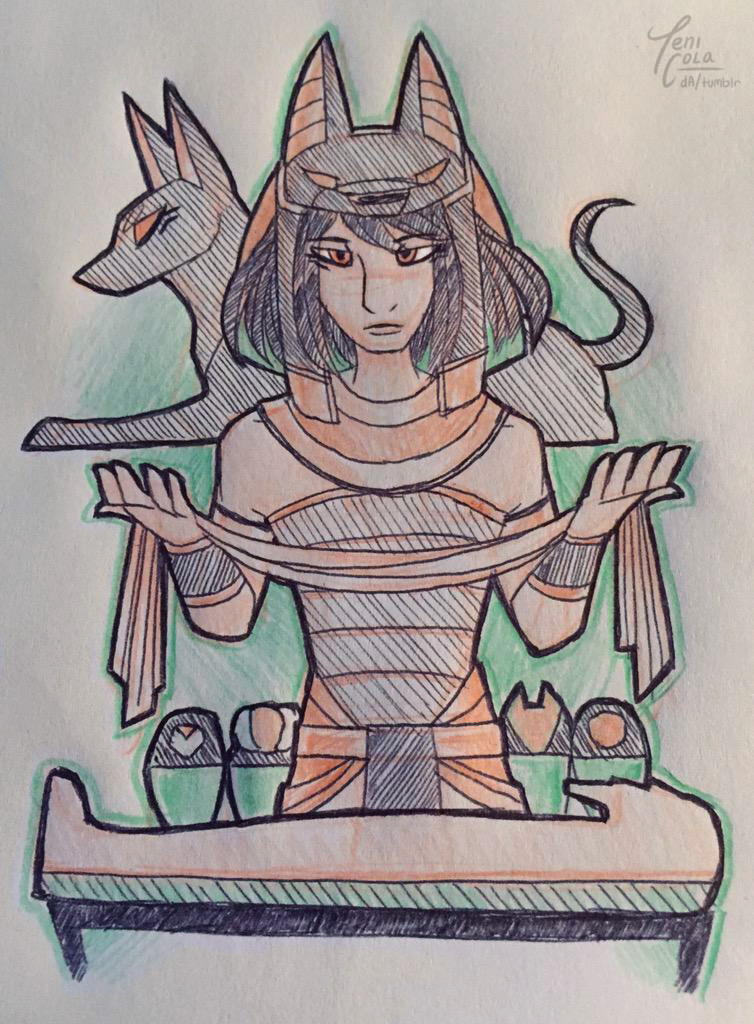 ANUBIS -- The God of Mummification and funerals, and guardian of the dead.