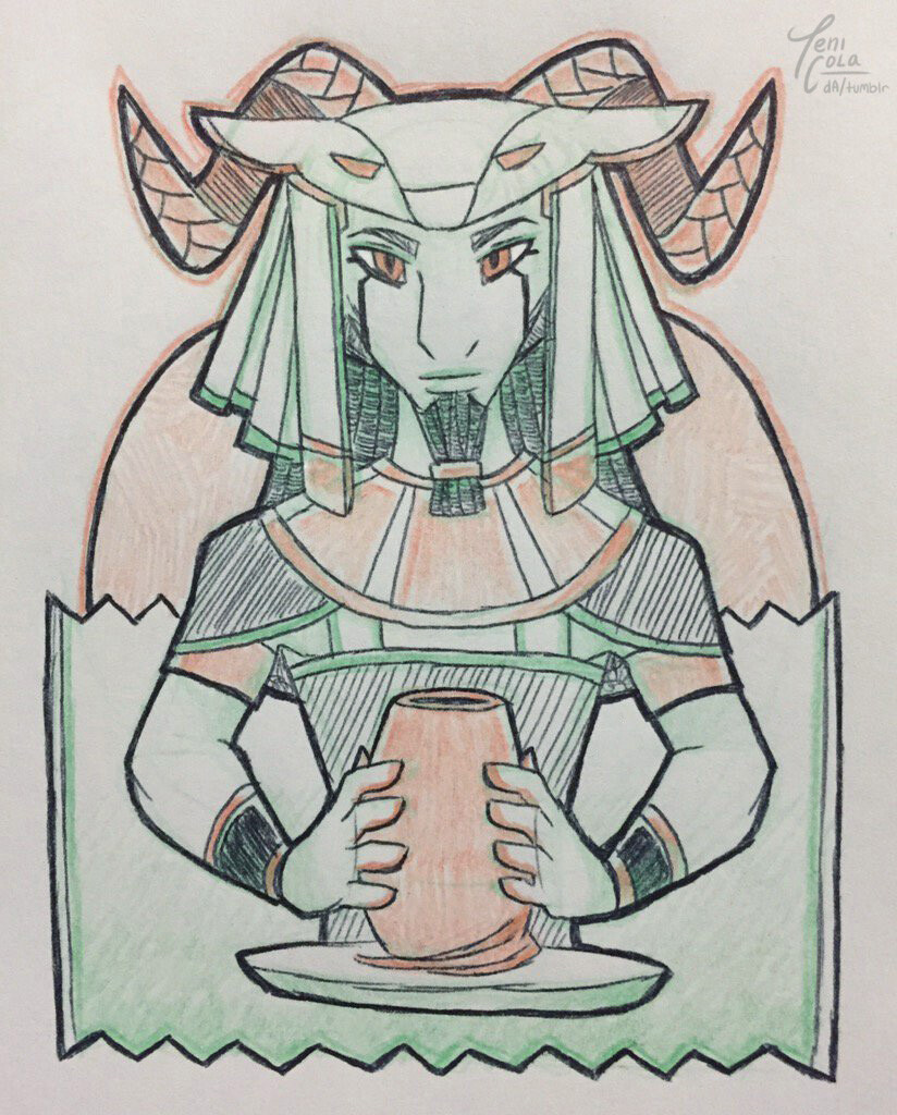KHNUM -- A creation deity and water deity, and the God of the evening sun and Sunset.