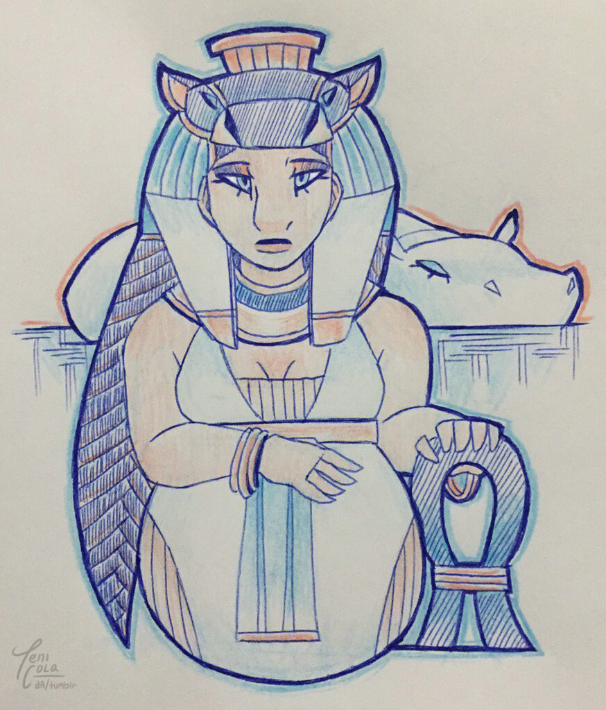 TAWERET -- The Goddess of maternity and childbirth, and protector of women and children.