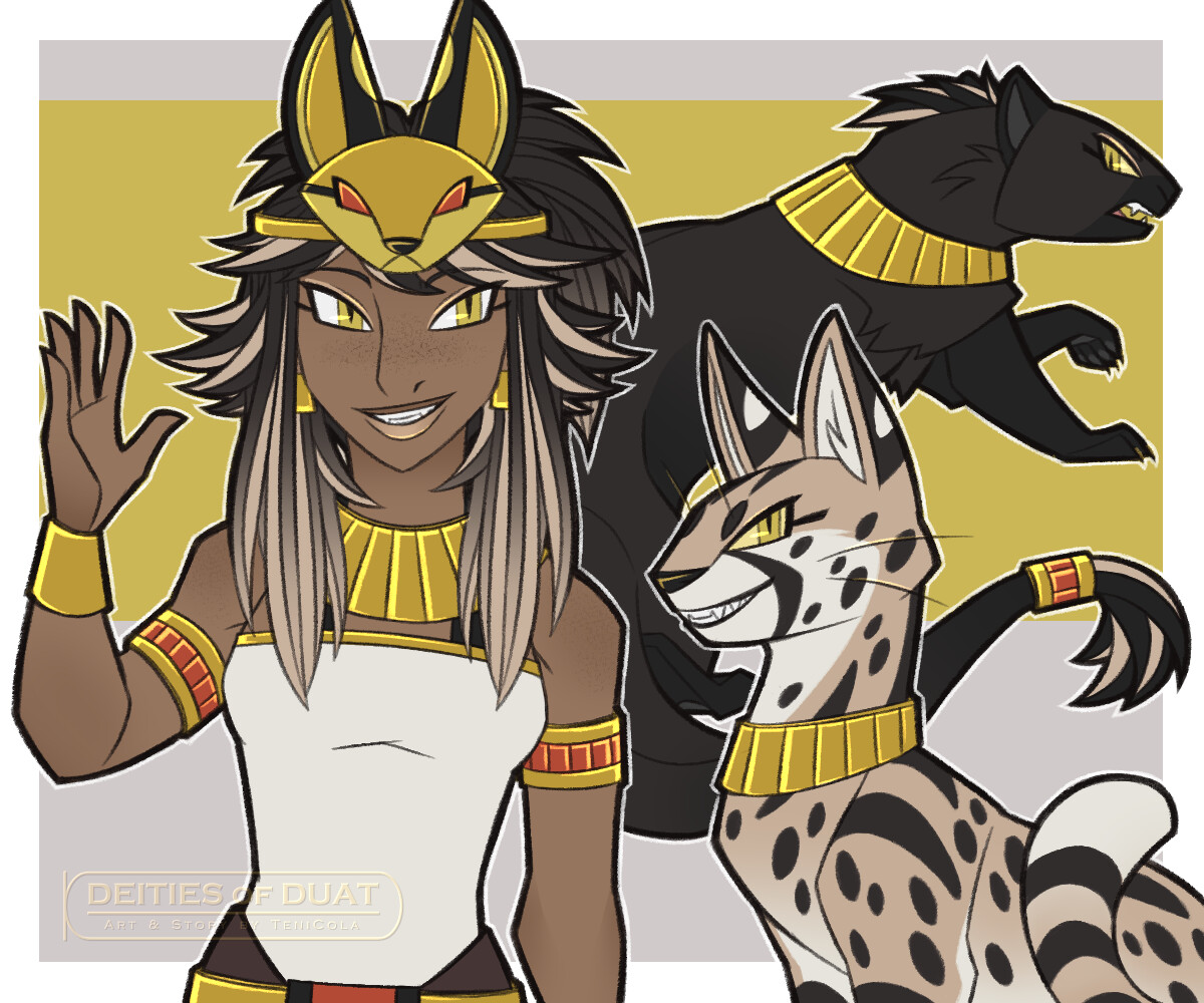 MAFDET -- The Goddess of justice and protector against dangerous and venomous animals. Her sacred animals are the Serval, the Cheetah, and the Mongoose.