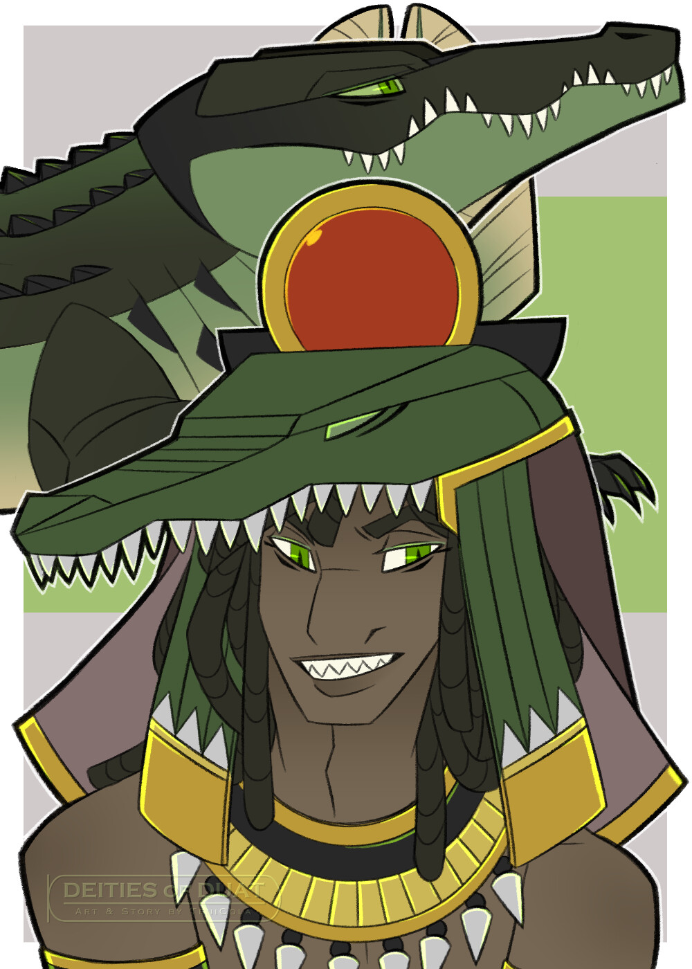 SOBEK -- The God of the Nile, warfare, and the military. His sacred animal is the Crocodile.